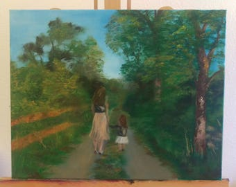 Mother & Daughter Oil Paint on Canvas