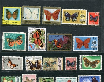 25 Butterfly And Moth Stamps Worldwide Used & Unused
