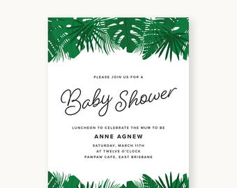 Botanical Baby Shower Printable Invitation
