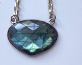 Faceted Labradorite Pendant Silver Necklace