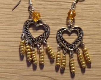 Heart yellow seed beads earrings