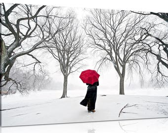 Fantasy Coloured Red Umbrella In The Snow Stunning Canvas Print Or Poster Print