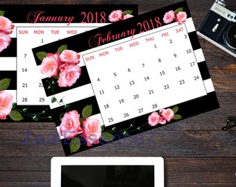 Printable Calendar 2018, Yearly Calendar, Wall Calendar, Calendar, Floral Calendar, Striped Calendar, Black and white stripes, Rose calendar