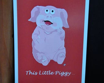 "Pack of 2 "" This little Piggy""  Postcards"