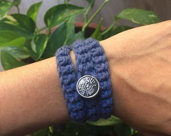 Handmade Cotton Crochet Wrap Around Bracelet