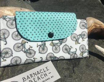 Spring Bicycles  slim line wallet, women's wallet, bifold wallet, cotton wallet, handmade wallet