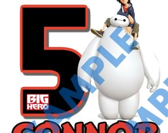 Big Hero 6 Customized Birhtday Image DIY Printable Iron On Transfer, Printable 8.5x11 - Digital File