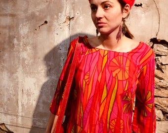 "Vintage Hawaiian Barkcloth Tunic ""The Kahala"" perfect condition, size medium"