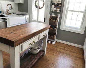 Kitchen Island, Thick Wood Butcher Block Top, Rustic Modern Farmhouse Table, Pantry Shelf, Drawers, Towel Bar, Chalk Paint