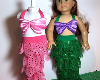18 Inch Doll Clothes Green and Purple  or Hot Pink Mermaid Outfit With Sequences Fits Like American Girl Doll Clothes
