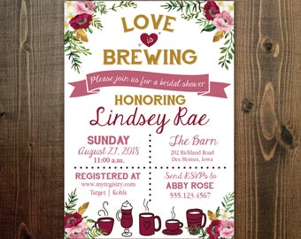 Customized LINDSEY Pink Floral Love is Brewing Bridal Shower Invitation