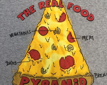 Vintage The Real Food Pizza Pyramid t shirt tee shirt