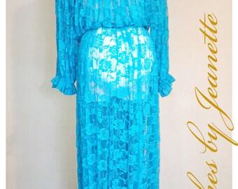 Turquoise Lace Maternity Dress
