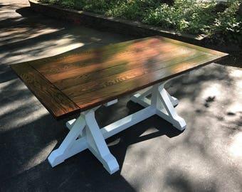 Trestle Base Oak Farmhouse Table