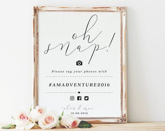 Oh snap wedding hashtag sign, wedding hashtag sign, instagram sign, wedding hashtag, social media wedding sign / SKU: LNWS02