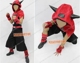 Men's Team Magma cosplay costume hoodie red plush