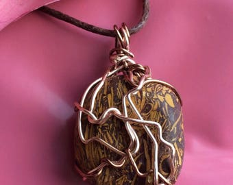 Scripture,Hebrew,Bible , Elephant Jasper Wire Wrapped Pendant