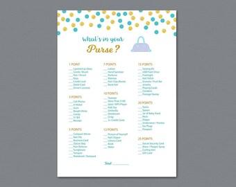 Whats in your Purse Game Printable, Aladdin Disney Bridal Shower, Bachelorette Party, Wedding Shower Games, Purse Raid, Purse Hunt, A016