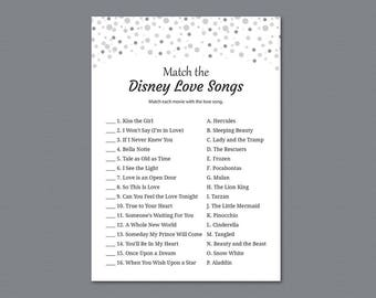 Match the Disney Love Songs, Bridal Shower Games, Gray Confetti, Glitter, Wedding Shower, Silver Grey Dots, Love Songs Matching Game, A020
