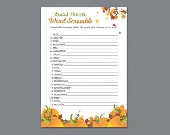 Fall Bridal Shower Word Scramble Game Printable, Pumpkins Patch Bridal Shower Games, Unscramble, Word Search, Bachelorette, Wedding, A022