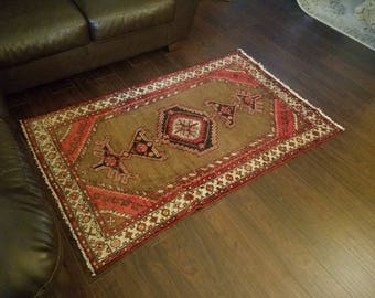 FREE SHIPPING! VORDOVEH Rug, Persian Rug, Camel, Red, Cream, Hamadan Rug, Persian Rugs, 3.4 × 5.4ft.