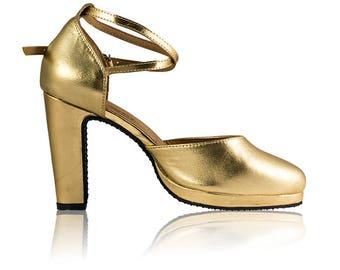 "Size 37 Gold Leather Samba dance shoes, 1"" Platform, 4"" heel"