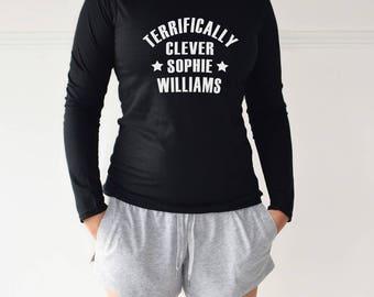 Personalised Terrifically Clever Loungewear Pyjama Set, PJ Set