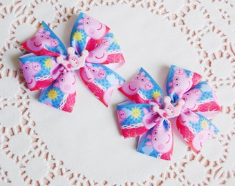 Peppa pig bow Peppa pig birthday Girls hair bow Peppa pig outfit Peppa bow Peppa pig hair clip Blue bow Pink bow Set of 2 bows Сharacter bow
