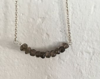 Smoky Quartz Line Necklace