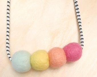 Pastel Sprinkles Woolie Ball Necklace