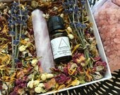 Peace Ritual Bath Kit with Rose Quartz Wand and Essential Oil Blend