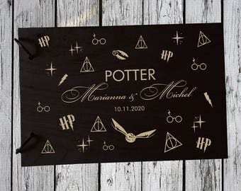 Wedding GuestBook Wooden Guest Book Wedding Gift Personalized Guest Book Harry Potter Guest Book snitch Guest Book  Rustic Guest Book Always