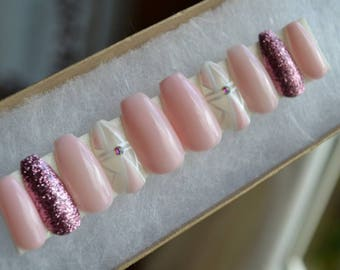 Light pink and white nails with rose glitter accents.|Any size or shape|Fake nails|glue on nails|Press on nails|Matte nails|Stiletto nails