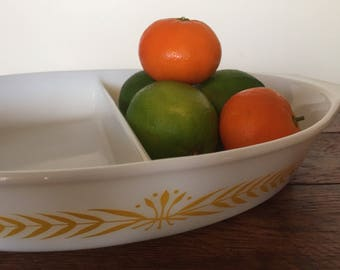 Sale! Was 15.00, now 12.00!!! Vintage Pyrex Royal Wheat Divided Casserole Dish 1960s