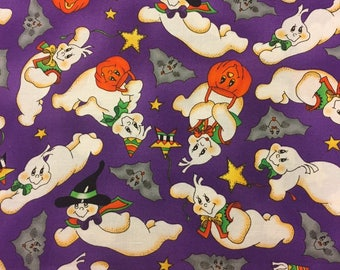"""Halloween Fabric Ghosts Bats Trick Or Treat Cotton By The Yard 36"""" Long"""