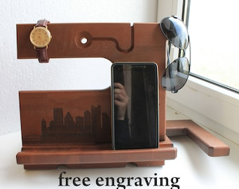 gift for men Desk organizer iPhone8 Personalized Docking Station  iphone docking Charging Station wood docking station Desk organizer Wooden