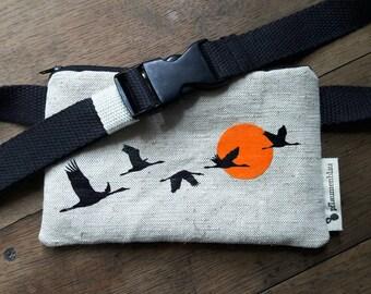 "Belt bag ""Wild Swans"" - tobacco or smart phone"