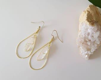 Quartz Teardrop Earrings