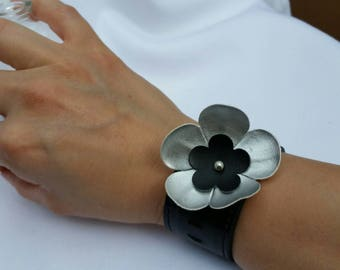black cuff bracelet, black and silver, cuff bracelet, flower bracelet