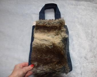 Small Tote Bag Kids Strip of Faux Fur on Denim Christmas Gift
