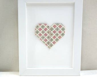 Hanger - heart origami - red and green - 'My heart, my love' Collection