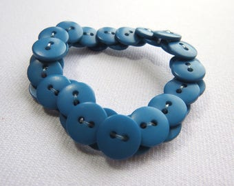 Teal upcycled button bracelet