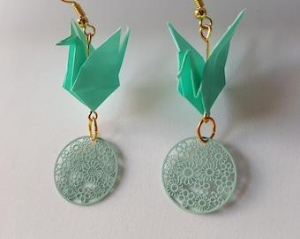 Opal green cranes origami earrings