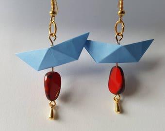 Light blue origami boat earrings