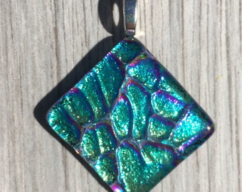 Dichroic Fused Glass Pendant - Aqua Blue Pebble Texture Pendant