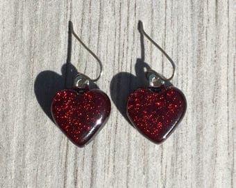 Dichroic Fused Glass Earrings - Red Heart Earrings with Solid Sterling Ear Wires