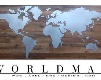 World map metal modern! 108 x 50 cm custom made! Design object