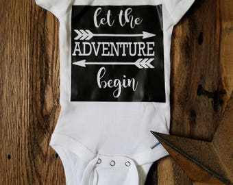 Let the Adventure Begin Baby Onesie BLOCK Style