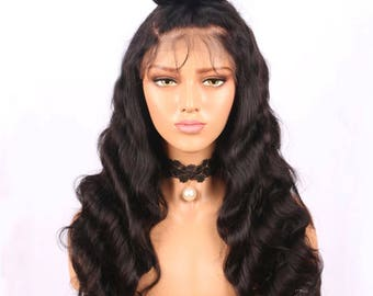 100% Full Human Hair Lace Frontal wig Body wave curl 250 density 360 lace wig Brazilian curly