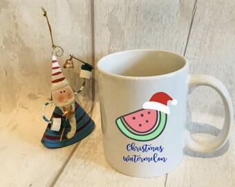 Personalised Christmas watermelon mug